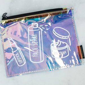 Macy's beauty SMALL iridescent makeup cosmetic bag